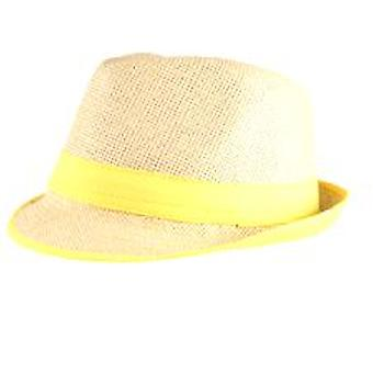 Straw Fedora Hat with Neon Yellow Trim