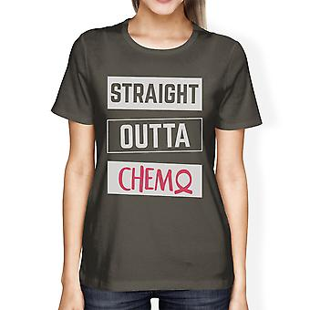 Straight Outta Chemo Womens Dark Grey T-Shirt For Cancer Awareness