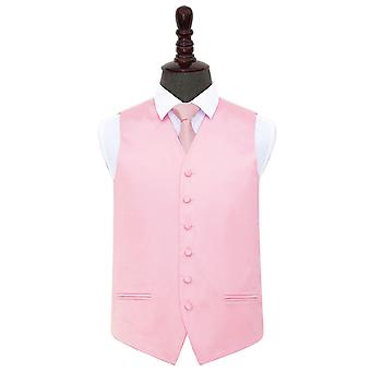 Baby Pink Plain Satin Wedding Waistcoat & Tie Set