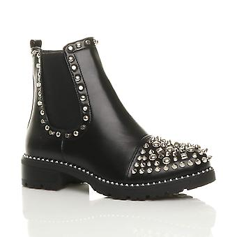 Ajvani womens low heel goth punk rock grunge studded gusset chelsea ankle boots