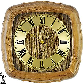 Radio controlled wall clock wall clock wood wall clock oak solid mineral glass
