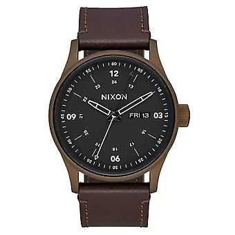 Nixon The Sentry Leather Watch - Brown/Bronze