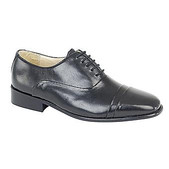 Mens Leather Upper Leather Sole Lace Up Oxford Tie Formal Dress Shoes