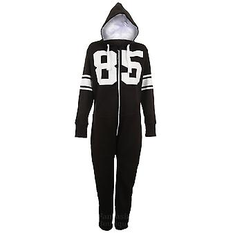 Ladies Mens Footless Hooded 85 Varsity Zip Up Celebrity All In One Jumpsuit