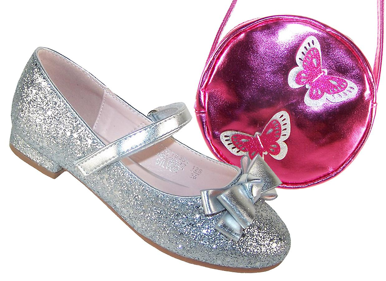 4d2e9adadd2c Girls silver sparkly shoes with pink and silver bag | Fruugo