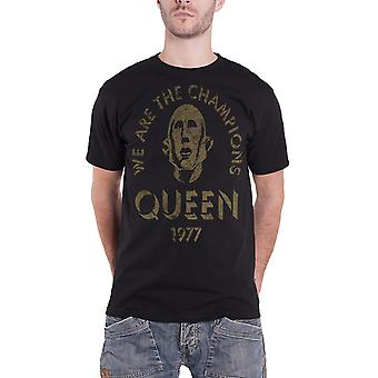 Queen T Shirt We Are The Champions 1977 Band Logo Official Mens New Black