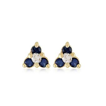 9ct Yellow Gold 0.30ct Sapphire & Diamond Floral Cluster Stud Earrings