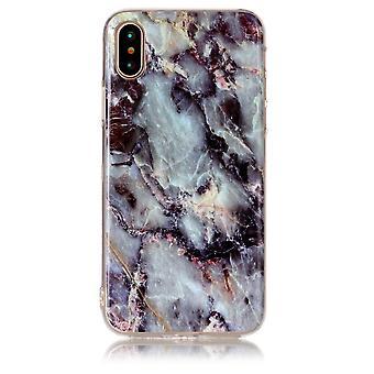 TPU-Shell Marmor auf das iPhone X-schwarz/blau