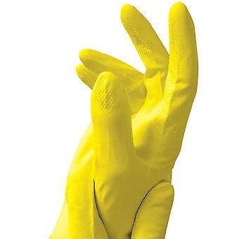 Fürsorgliche Hände mittleren gelben Latex Gummihandschuhe