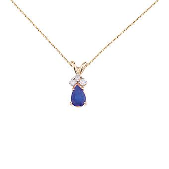 14K Yellow Gold Pear Shaped Sapphire Pendant with Diamonds and 18