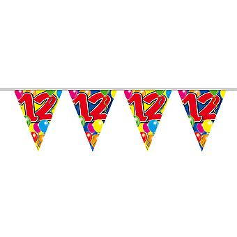 Pennant chain 10 m number 12 years birthday decoration party Garland