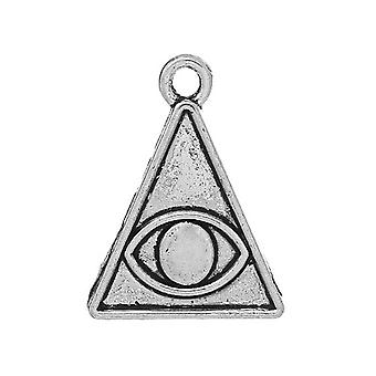 Packet 5 x Antique Silver Tibetan 24mm Eye Of Providence Charm/Pendant ZX05065