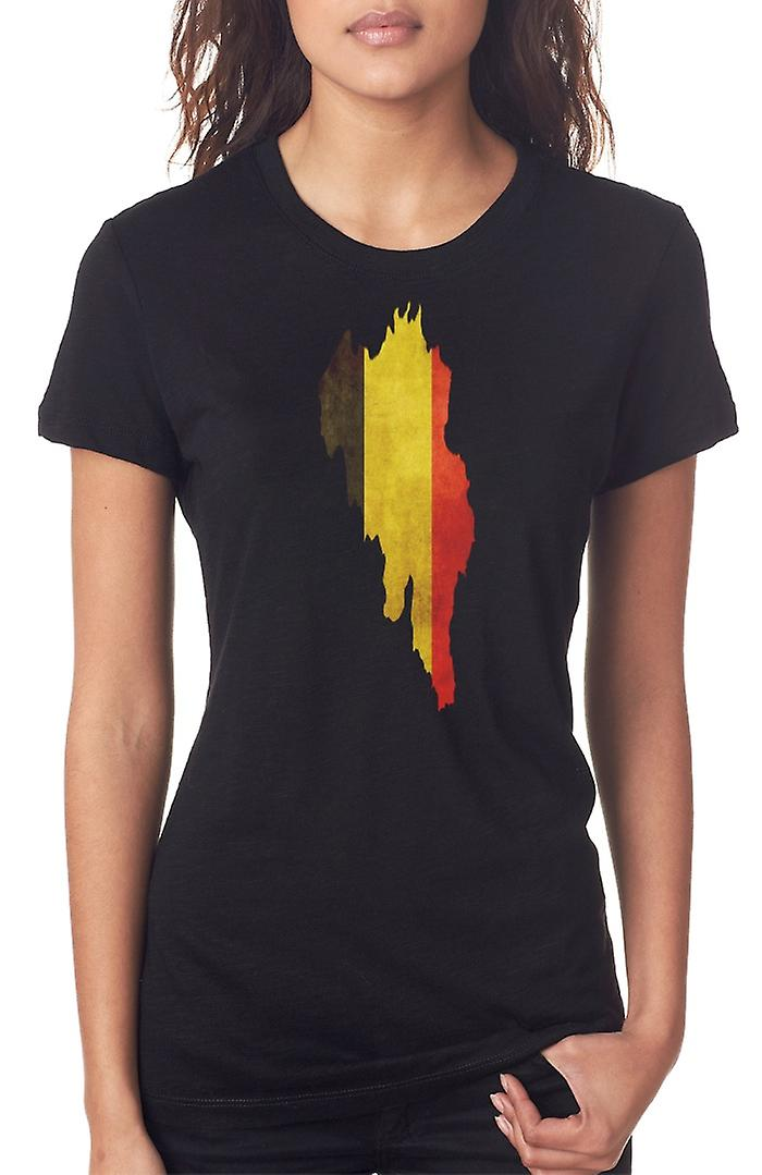 Belgian Belgium Flag Map Ladies T Shirt