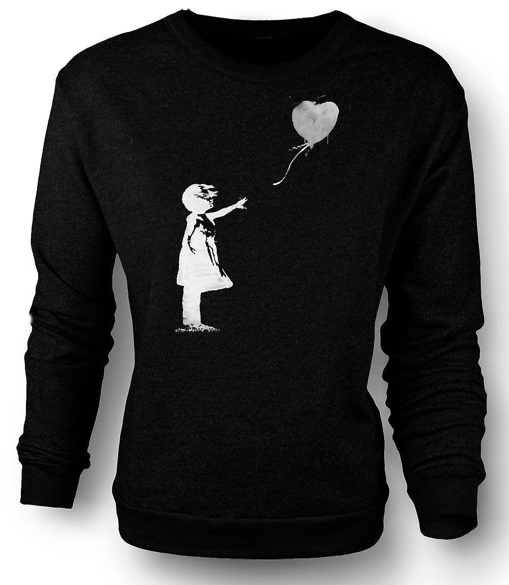 Mens Sweatshirt Banksy Graffiti Art - Balloon