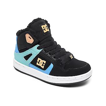 DC Black-Multi-White Pure - Sherpa Lined Girls Hi Top Shoe