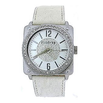 Firetrap Ladies Crystal Set Bezel Genuine White Leather Strap Watch FT1086W