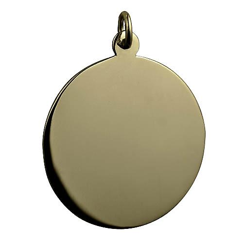9ct Gold 30mm round plain round Disc