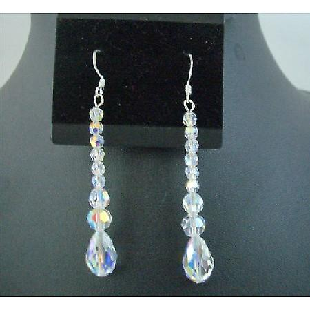 AB Crystal Teardrop Pear Shaped (#5500 ) Swarovski Crystal Earrings
