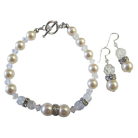 Clear Crystals w/ Ivory Pearls Bracelet & Earrings w/ Silver Rondells