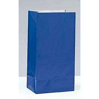 12 Royal Blue Paper Party Bags | Kids Party Loot Bags