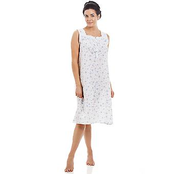 Camille Blue Sleeveless Floral Nightdress