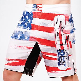 Grips Athletics Mens Americano Fight Shorts - White