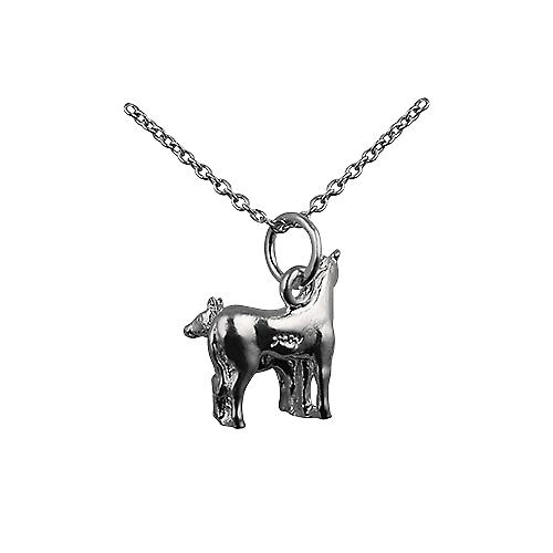Silver 13x13mm Horse and Foal Pendant with a rolo Chain 18 inches