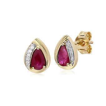 Gemondo 9ct Yellow Gold Ruby & Diamond Pear Classic Stud Earrings