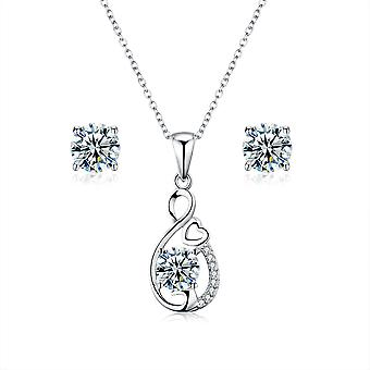 925 Sterling Silver Infinity Twist With Heart Detail Pendant Necklace & Stud Earring Set