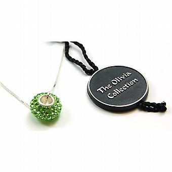 Toc Sterling Silver Lime Green Crystal Bead Pendant on 18 Inch Chain