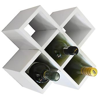 Cross - 6 Bottle Wall Mounted / Free Standing Wine Storage Rack - Gloss White