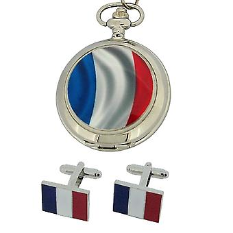 Boxx French Flag Pocket Watch With 12