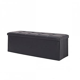 Rebecca Pouff Pouf Furniture folding black container with faux leather cover
