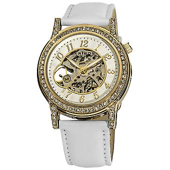 Akirbos XXIV AK475WT Women's Crystal Accented Open Heart Automatic Skeleton Satin White Strap Watch