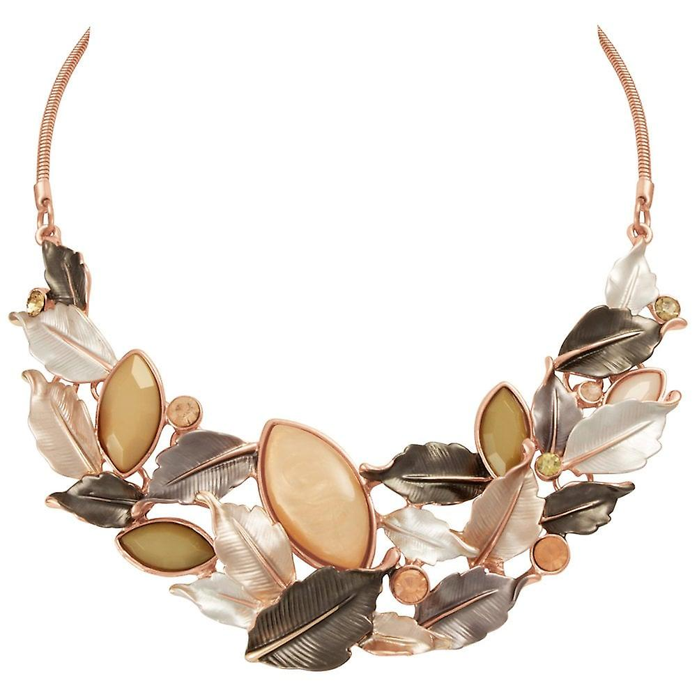 Eternal Collection Vitality Natural Enamel And Crystal Rose Gold Tone Statement Necklace