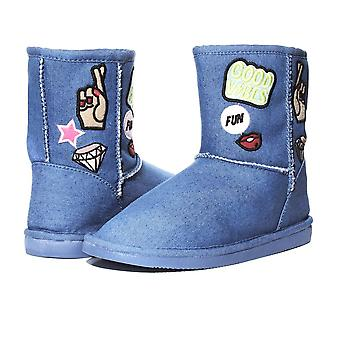 Sara Z Womens Denim Boots With Patches Denim