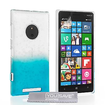 YouSave Accessories Nokia Lumia 830 Raindrop Hard Case BlueClear