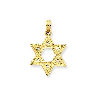 14k Yellow Gold Solid Polished Flat back Textured back Star of David Pendant - Measures 26.5x17.5mm