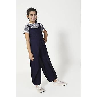 Pumpkin wide leg jumpsuit for girls - blue