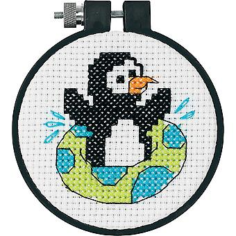 Learn A Craft Playful Penguin Counted Cross Stitch Kit 3