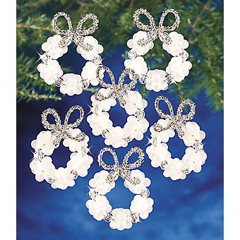 Holiday Beaded Ornament Kit Frosted Wreath 2.25