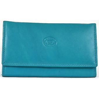 Ladies Soft Real Nappa Leather Long Flap-over Purse (Turquoise)
