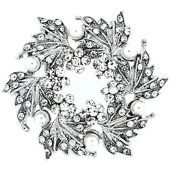 Magasin de broches blanc perle cristal & Antique Silver Flower-feuilles Couronne broche