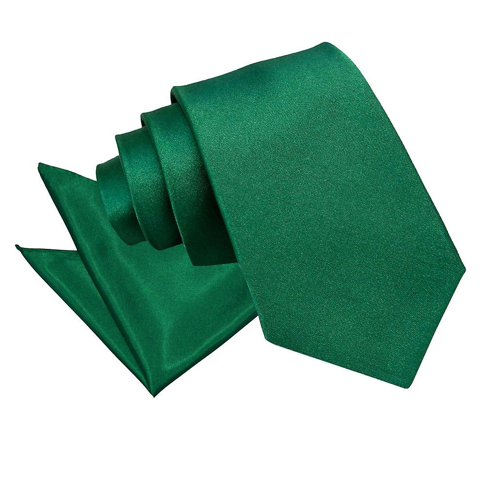 Plain Emerald Green Satin Tie 2 pc. Set