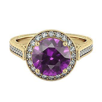 Ametista 2.10 ctw anello con diamanti 14k Yellow Gold Halo filigrana con accenti