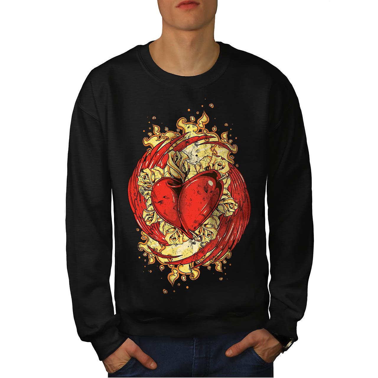 Love Heart Wing Lust Beat Organ Men Black Sweatshirt | Wellcoda
