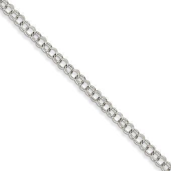 14k Hvit Gullet Solid polert hummer Claw nedleggelse dobbel kobling Charm armbånd - hummer klo - lengde: 7-8