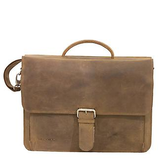 Piviere business/portatile borsa pelle scuro marrone