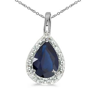 10k White Gold Pear Sapphire Pendant with 16