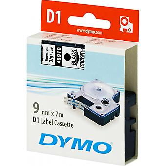 DYMO D1 tape standard 9 mm, sort på transparent, 7 m rulle (40910